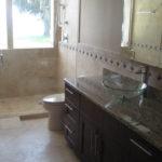 bathroom travertine installation